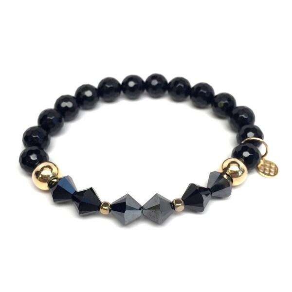 "Black Onyx & Crystal Chloe 7"" Bracelet"