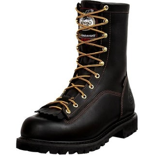 "Georgia Boot Work Mens 8"" WP Leather Lace Insulated Black"