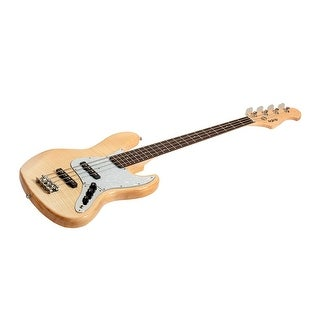 Monoprice Electric Bass - Natural With Gig Bag, Flamed Maple - Indio Jamm