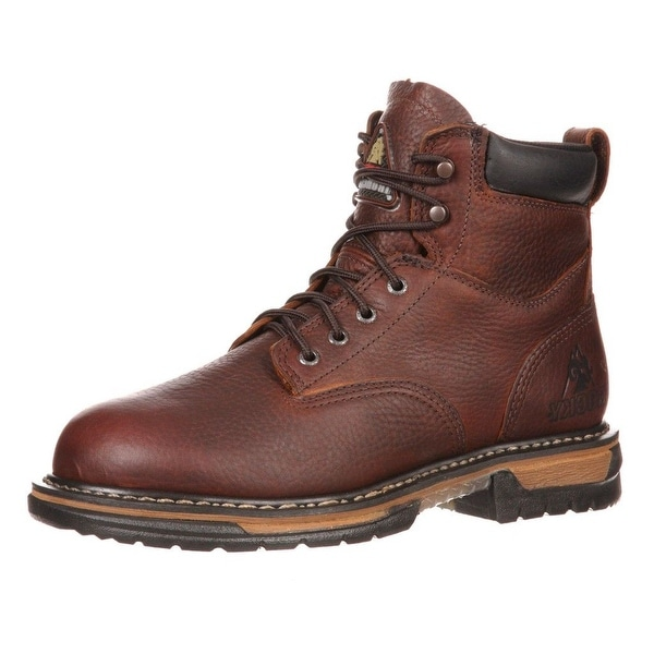 "Rocky Work Boots Mens 6"" Ironclad Waterproof Slip Brown"