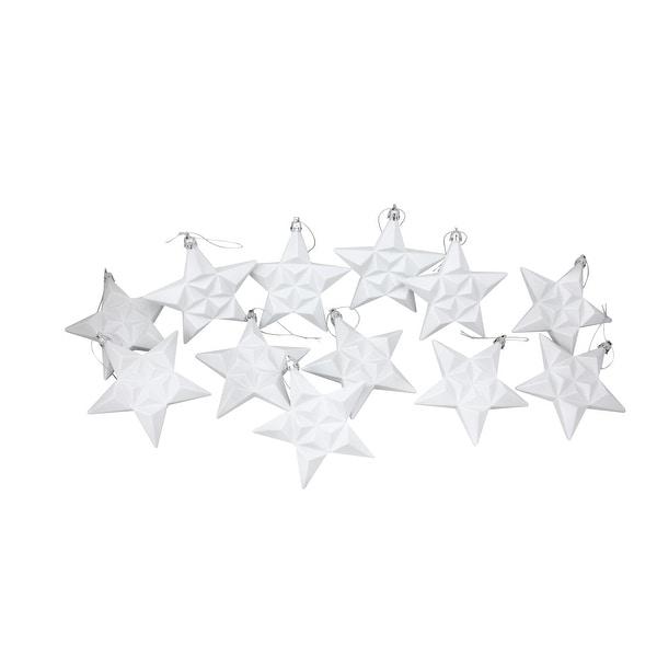 "12ct Matte Winter White Glittered Star Shatterproof Christmas Ornaments 5"""
