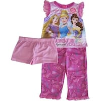 Disney Little Girls Pink Cinderella Belle Rapunzel Print 3 Pc Pajama Set 4-6