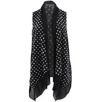 Women Plus Size Floral Lace Chiffon Cardigan Open Front Vest Casual Top Polka G17040L-3