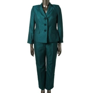 Le Suit Womens Petites Vienna Herringbone Three Button Pant Suit - 10P
