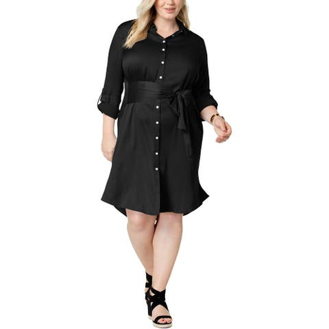 525 America Womens Plus Sateen Shirtdress Collared Office - Black - 3X