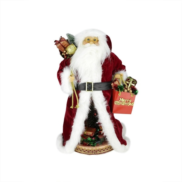 """20"""" Battery Operated Musical Standing Santa Claus Figure with LED Lighted Christmas Scene"""