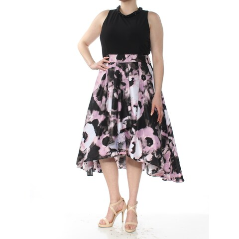 SLNY Womenst Pink Floral Embellished Sleeveless Jewel Neck Below The Knee Hi-Lo Party Dress Size: 8