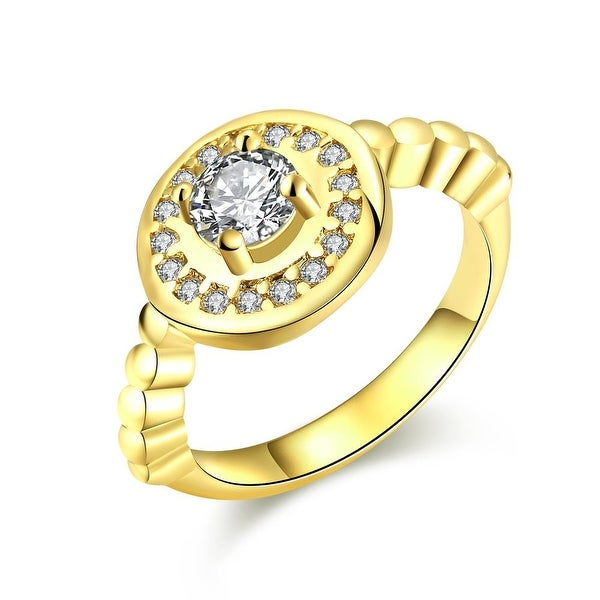 Circular Abstract Crystal Gold Ring