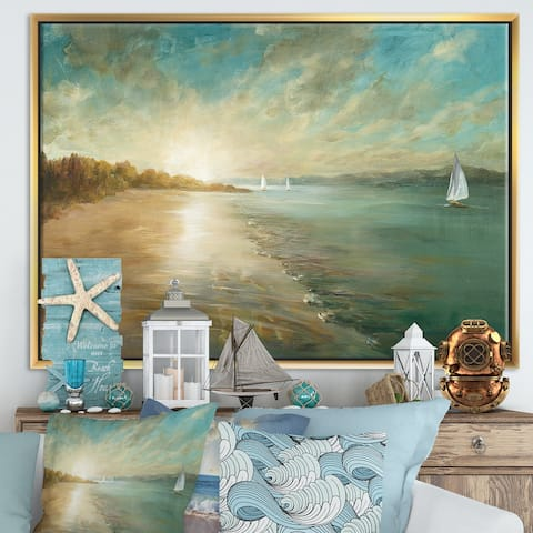 Designart 'Coastal Pastel Horizon' Nautical & Coastal Framed Canvas - Blue