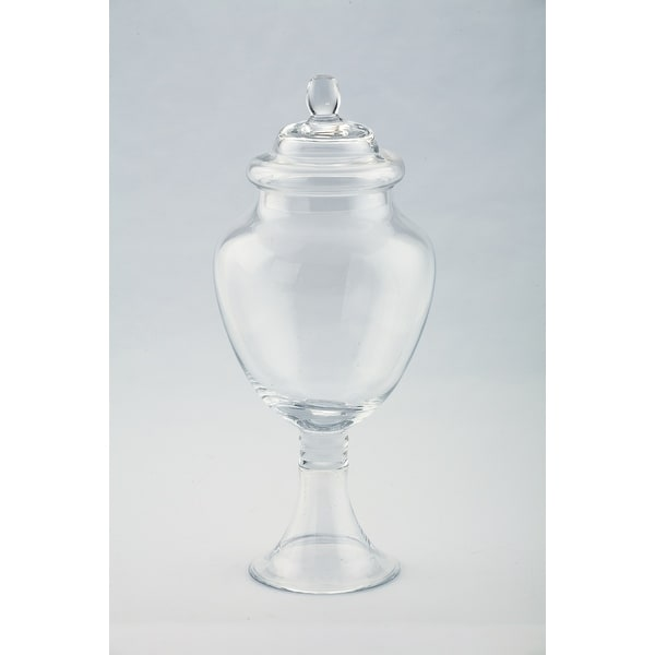 "14"" Clear Hand Blown Glass Jar with Finial Lid - N/A"