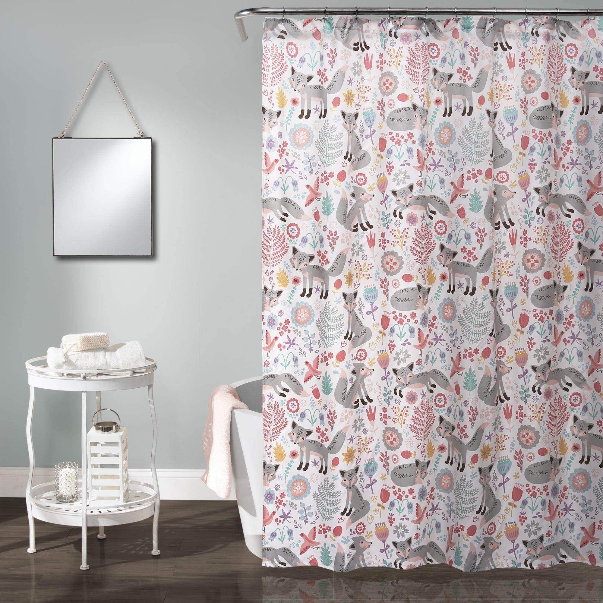 Fox Shower Curtain Foxes Ornate Flowers Birds Print for Bathroom