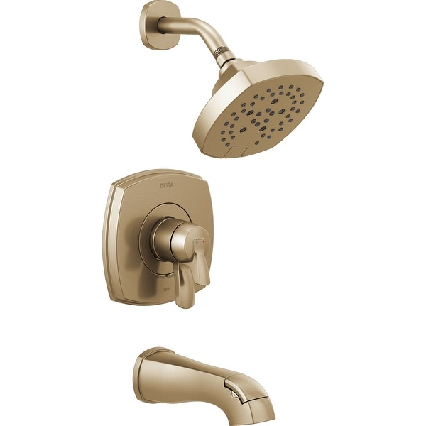 Delta T17476 Stryke Tub and Shower Trim Package with 1.75 GPM Multi Function Shower Head