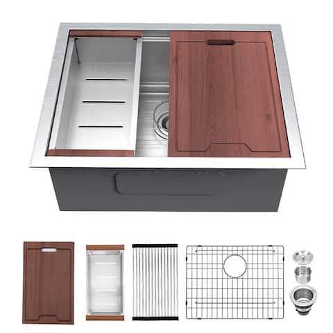 "Lordear 23 Inch 16 Gauge Undermount Workstation Deep Single Bowl Stainless Steel Kitchen Sink - 23"" x 19"" x 13"""