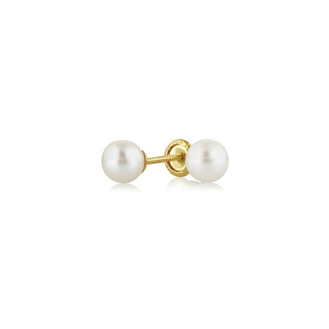 Bling Jewelry Freshwater Cultured Pearl Baby Safety Screwback Stud earrings 14k Gold 4mm
