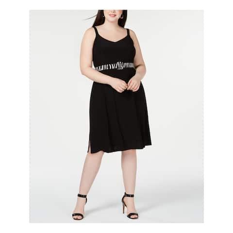 MSK Black Spaghetti Strap Below The Knee Fit + Flare Dress Size 1X