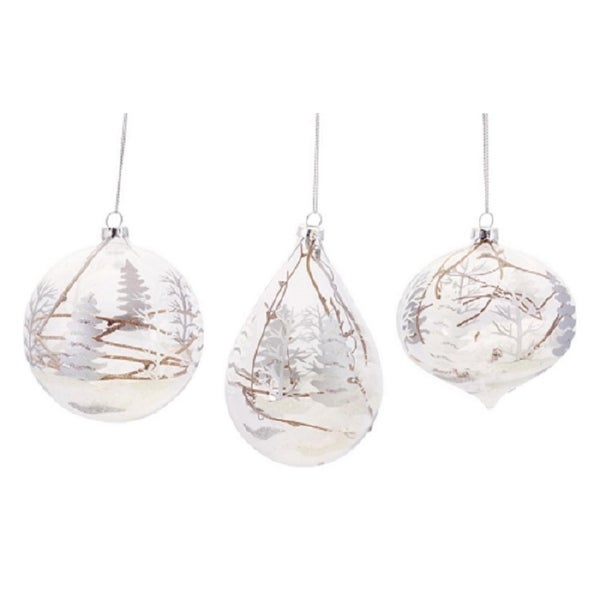 """Club Pack of 12 Snowy Woodland Scene Ball, Tear Drop and Onion Christmas Ornaments 6""""H"""