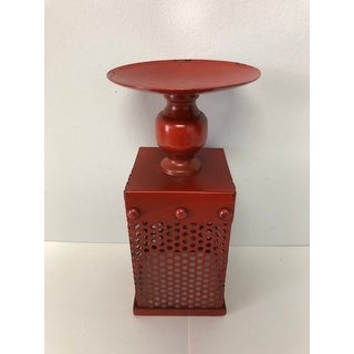 """Link to 9.5"""" Red Contemporary Pillar Candle Holder Similar Items in Decorative Accessories"""