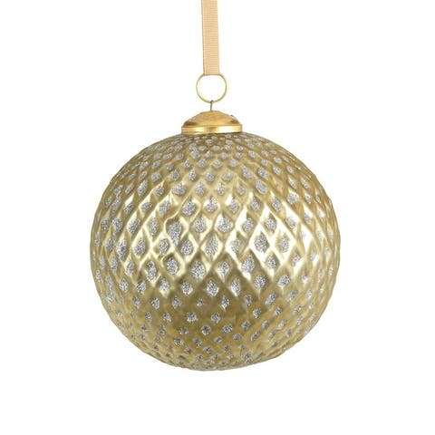 """6"""" Beehive Glass Ball Ornaments, Set of 2"""
