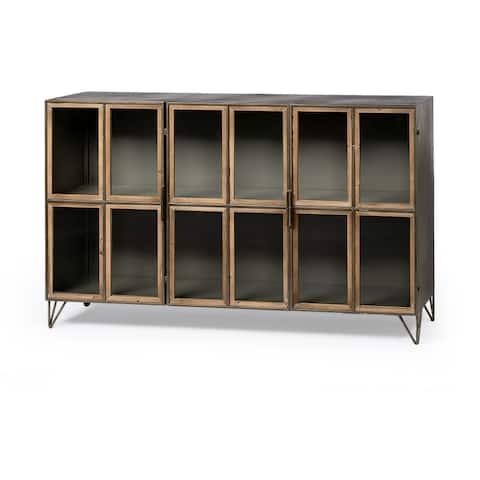 "Pandora II 66"" L Brown Wood and Metal Glass Door Display Cabinet - 66.0L x 16.0W x 39.8H"