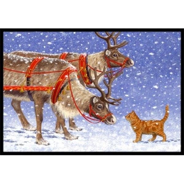 Carolines Treasures ASA2174MAT Reindeer & Cat Indoor or Outdoor Mat 18 x 27