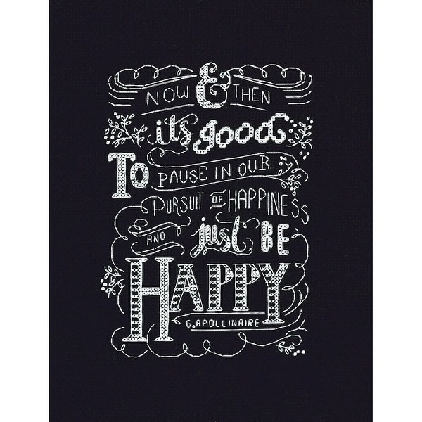 """Just Be Happy Counted Cross Stitch Kit-8""""X10"""" 14 Count"""