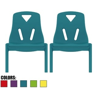 "2xhome - Set of 2 - Kids Size Plastic Side Chair 10"" Teal Chair (4 options available)"