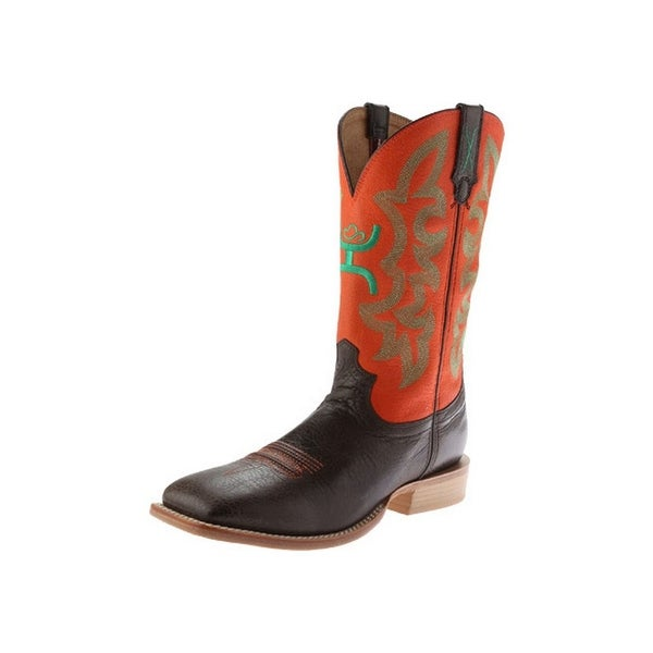 HOOey Western Boots Mens Cowboy Riding Chocolate Neon Orange
