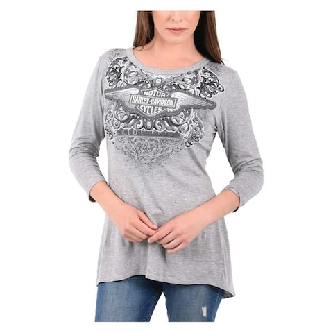 Harley-Davidson Women's Embellished B&S Crossover Open Back 3/4 Sleeve Top, Gray