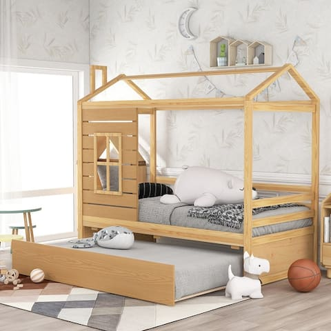 Nestfair Twin Size House Bed Wood Bed with Trundle