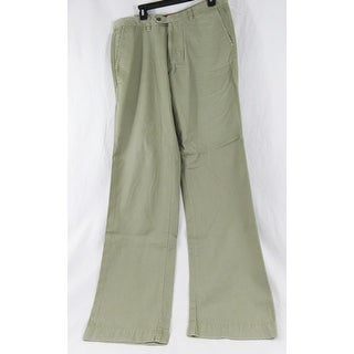 Tommy Bahama Mens Army Green Khaki Color Size 34X34 Flat Front Pants