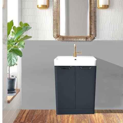 Highpoint Collection Glossy Dark Gray Modern Floor Vanity