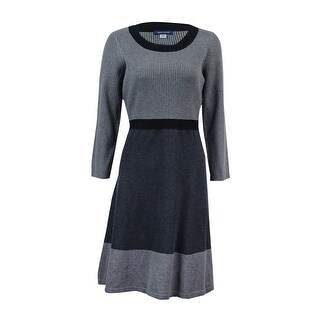 Tommy Hilfiger Women's Colorblocked Ribbed Sweater Dress - Charcoal/Black