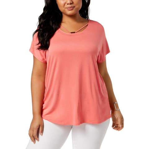 NY Collection Womens Plus Knit Top Strappy Dolman Sleeves