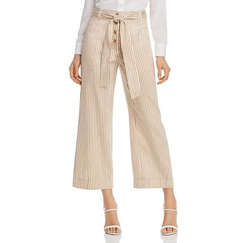 Tory Burch Womens Paperbag Pants Wide Leg High Waist - Linen Cotton Stripe