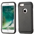 Insten Black Carbon Fiber Hard PC/ Silicone Dual Layer Hybrid Rubberized Matte Case Cover For Apple iPhone 7 - Thumbnail 0