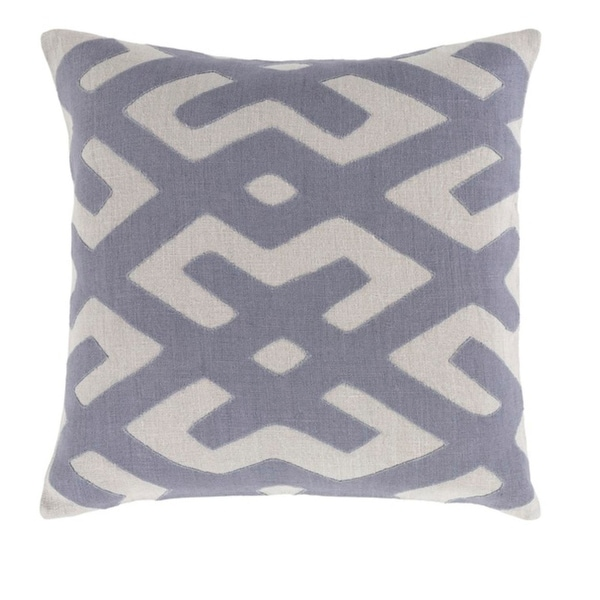"18"" Tribal Rhythm Blue and Mist Gray Woven Decorative Throw Pillow -Down Filler"