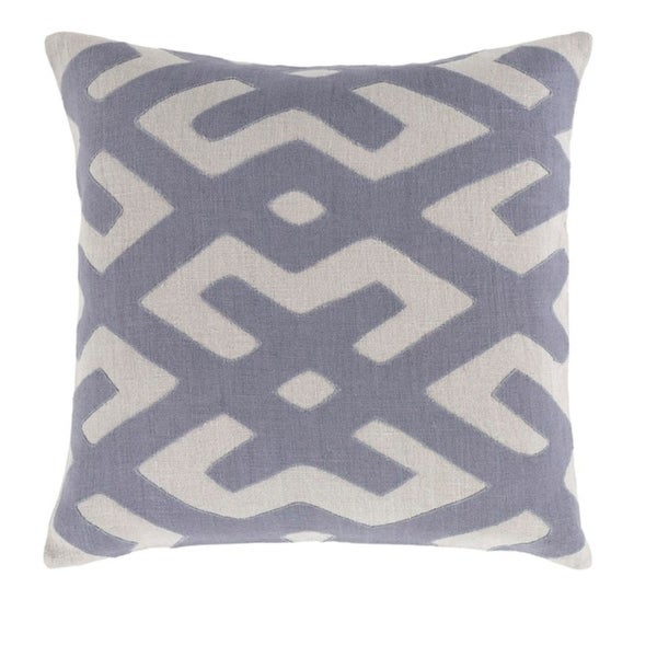 "20"" Tribal Rhythm Blue and Mist Gray Woven Decorative Throw Pillow"