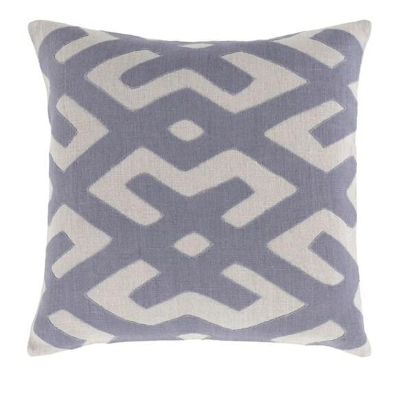 "22"" Tribal Rhythm Blue and Mist Gray Woven Decorative Throw Pillow"