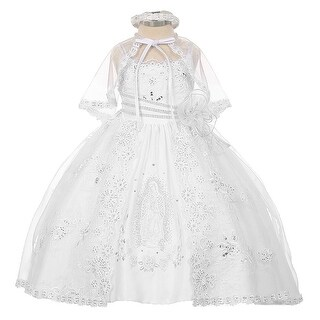 Rainkids Baby Girls White Organza Virgin Mary Embroidery Baptism Dress 6-12M