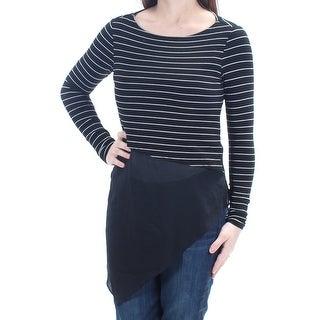 Womens Black White Striped Long Sleeve Jewel Neck Hi-Lo Top Size 2XS