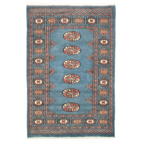 ECARPETGALLERY Hand-knotted Finest Peshawar Bokhara Turquoise Wool Rug - 2'6 x 3'8