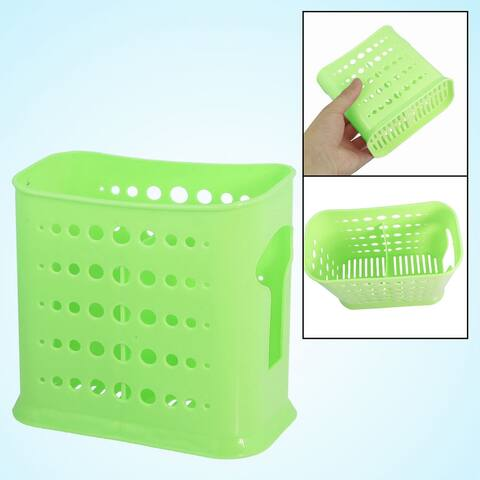 Unique Bargains Home Kitchen Green 2 Compartments Round Perforated Chopsticks Holder Box Cage
