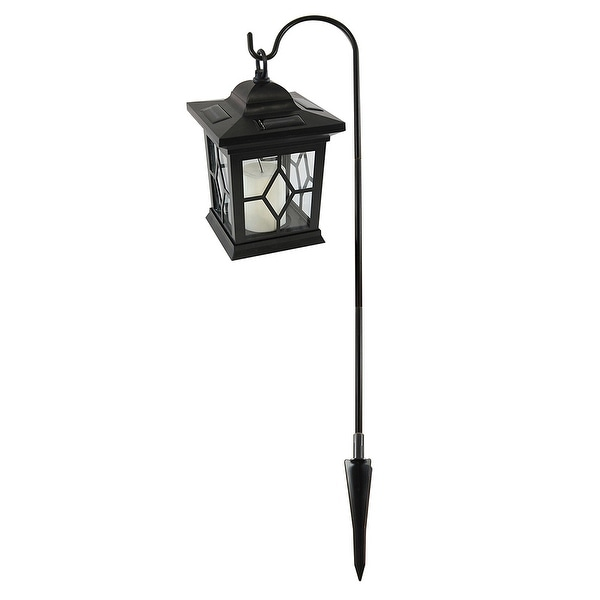 "30.25"" Black Solar Lantern with Shepherds Hook Stand Lantern - N/A"