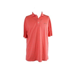 Greg Norman Coral Striped Golf Polo M