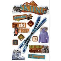 """Skiing - Paper House 3D Stickers 4.5""""X8.5"""""""