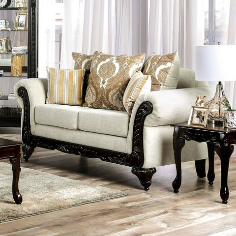 Furniture of America Brondon Traditional Cream Chenille Loveseat