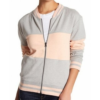 Abound NEW Heather Gray Pink Size Large L Junior Full-Zip Striped Jacket