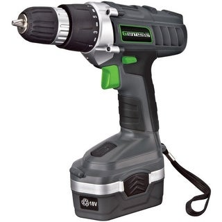 Genesis(TM) GCD18BK 18-Volt Cordless Li-Ion Variable Speed & Reversing Drill/Driver Kit