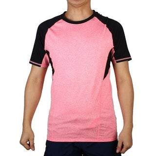 Men Short Sleeve Apparel Stretchy Outdoor Training Sports T-shirt Pink M