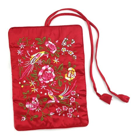 Handcrafted Flower Embroidery Satin Travel Jewelry Roll Organizer